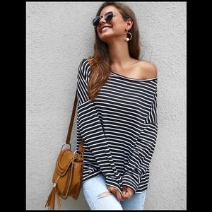 🆕ANGELA Off Shoulder Black and White Trendy Tunic